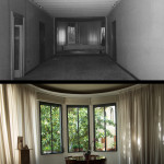 Dining room, before and after restoration