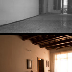 Living room, before and after restoration
