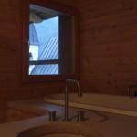Loft bathroom, washbasin and bath, detail