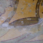 Detail painting a secco overlaying the fresco