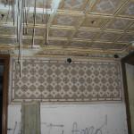 Particolare, soffitto cassettonato prima del restauro