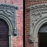 Particolare sovrafinestra prima e dopo il restauro